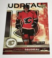 Johnny Gaudreau /25 made UD Midnight Exclusives Insert Parallel Hockey Card 278