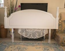 Antique solid wood headboard refurbishes in antique white for king size bed