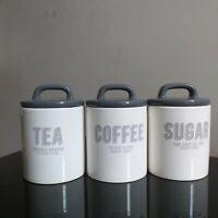 Grey and white retro 3 piece ceramic tea sugar coffee jars kitchen canister set