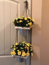 NEW  2 SILK HANGING  PLANT FAUX ARTIFICIAL Yello FLOWERS NEARLY NATURAL