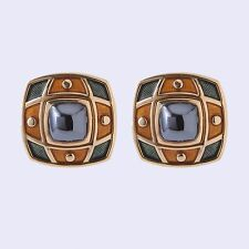 De Vroomen 18K Hematite & Enamel Earrings