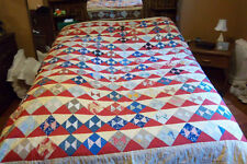 Antique Hand Stitched Feedbag Quilt 1920's  Bow Tie Pennsylvania Dutch Made!!!