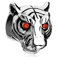 Silver & Red Crystal Eyes Tiger Head Charm Fit For European Charm Bracelets