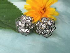 Ear Studs Earrings Silver Plated Black Rose Flower Blossom with White Zirconia