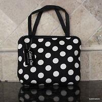 Mini Handbag Black W/ White  Dots Cosmetic Travel Tote Small Stylish Designer