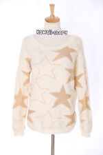 TH-10 Gr. S-M Pullover Sweater Beige Sterne Stars Gothic Japan Trend Fashion