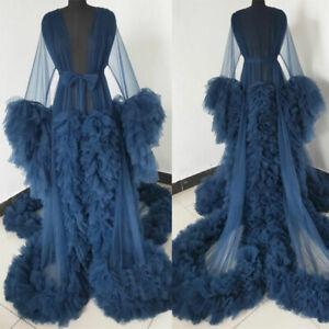 Blue Women Maternity Sleepwear Robe Dresses Pregnant Gown Photo Shoot Photograph