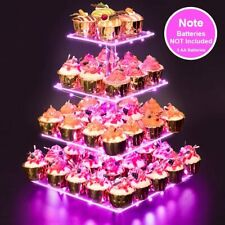 Premium 4 Tier Acylic Cupcake Stand | Holder | Display Tower (Pink LED Lighted)