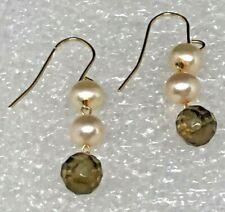 Smoky Quartz and Freshwater Pearl 14K gold Dangle Earrings