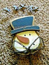 "Rustic Christmas Yard Snowman Wood Head Metal Stars Bowtie Stake 25"" Primitive"