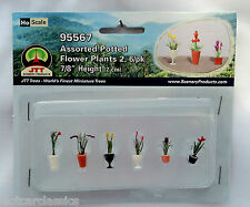 """Jtt Scenery 95567 Assorted Potted Flower Plants 2 Ho Scale 7/8"""" High 6/Pk"""