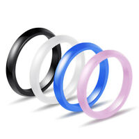 3mm Blue/White/Black/Pink Ceramic Wedding Band Women's Engagement Ring Size 6-9