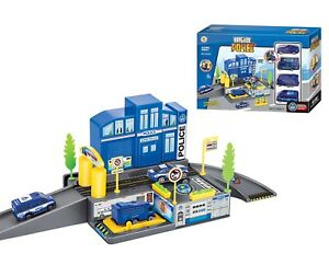 Brigade Police Station Toy Garage Station Play Set 4 Cars 1205A-1