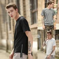 Men's Basic Extended Long T- Shirt Tee Fashion Zipper Hip Hop Casual Crew Neck