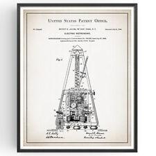 Metrónomo patente impresión Blueprint Decoración Poster Vintage Regalo Músico Música Arte