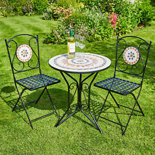 8b8cdc4dba2d Mosaic Bistro Set Outdoor Patio Garden Furniture Table and 2 Chairs Metal  Frame