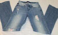 Womens Size 4 Rock & Republic Denim Stretch Distressed Jeans Flare 29 x 31