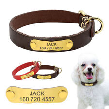 Genuine leather Personalized Dog Collar Gold Dog ID Phone Nameplate free Engrave