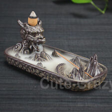 Dragon Pond Incense Stick Burner Holder Ash Catcher Backflow Smoke Censer Gift