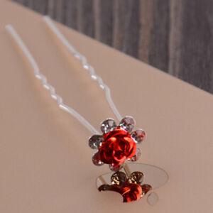 20pcs U-shaped Crystal Pearl Bun Hair Pin Clip Grips Flower Bridal Salon Hairpin