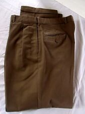 Harold Powell Mens Brown Khaki Cuffed Pleated Front PANT 34x32