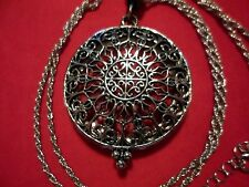 """length in Silvertone & Stainless Steel Antique Inspired Glass Necklace 30-33"""" in"""