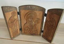 Polish Carved Wood Triptych Signed Daniel Jereczek Lebork Mary and two Saints