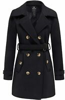 Wantdo Women's Double Breasted Pea Coat Winter Mid-Long Trench Coat with Belt
