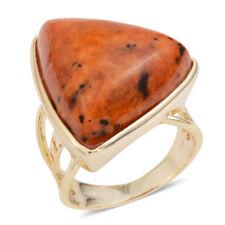 ORANGE JASPER GENUINE CHRYSOCOLLA GOLD TONE RING SIZE 5 TRILLION 12.50 CARATS