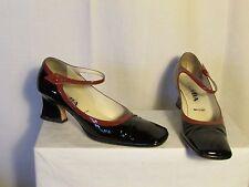 chaussures vintage PRADA cuir verninoir et caramel 38