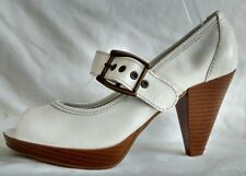 Moda in Pelle Womens Ladies White Leather Mary Janes Heels Shoes Size 4/37 New