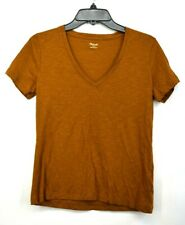 Madewell Womens V Neck Short Sleeve T Shirt Classic Slub Knitted Solid Cotton S