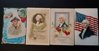 4 Old Antique Vintage George Washington Presidential Patriotic Postcards