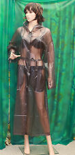 Sensuous shades of drk grey c/thro pvc vinyl hooded raincoat Mactv mistress  Med