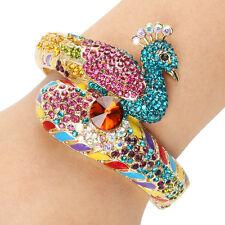 Dazzling Peacock Multicolor Austrian Crystal Bangle Cuff Bird Gold GP Women Gift