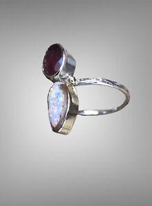 Rare Boulder Pipe Crystal Opal and Garnet Ring