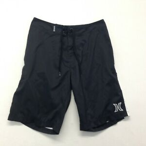 Hurley Men's Sz 30 Black And White Spellout Drawstring Polyester Board  Shorts