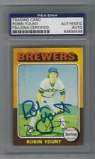 Robin Yount Autographed 1975 Topps Rookie Card #223 Brewers PSA/DNA