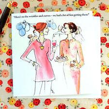 LA51 FUNNY CARD;WRINKLES/CURVES/WOMAN FRIEND/QUALITY DESIGN;BIRTHDAY/ANYDAY
