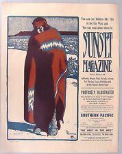 1903 SUNSET MAGAZINE AD POSTER, 1970s repro. Maynard Dixon art.