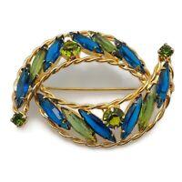 Gold Tone Sapphire Blue Peridot Green Rhinestone Crescent Shapes Brooch Pin