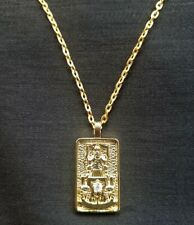 """VII Chariot Tarot Card Pendant on 20"""" chain, Goldplated with Cubic Zirconia"""