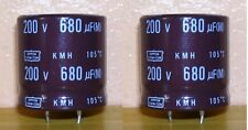 2 Condensateurs 680µF - 200V DC - NIPPON CHEMICON KMH 105° Snap-ins