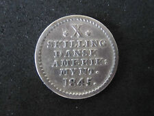 Rare 1845 Danish West Indies 10 Skilling Silver Coin