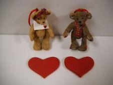 """Set of Valentine Or Christmas 3.25"""" Boy & Girl Resin Bear Ornaments Kurt Adler"""