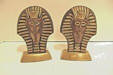 "Vintage Brass Cloisionne Egyptian King Tut Bookends 6 1/4"" x 4 1/2"""