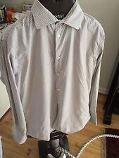 Bespoke Tod's Men's Business White Blue Brown Pin Stripe Shirt 44 / 43 17