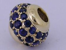 Bd040- GENUINE 9ct Yellow Gold NATURAL Sapphire Pave Bead Charm HUGE
