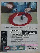 Publicite de 1957 DURALEX SAINT GOBAIN ASSIETTE VAISSELLE COULEUR  french ad