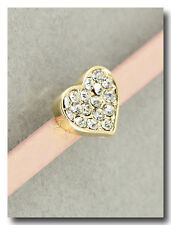 Beautiful Gold and Crystal Heart Bracelet on  PinkShimmer Leather Band